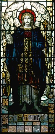 Archangel Gabriel - God's chief messenger, in a Victorian representation in Goodrich Church window.