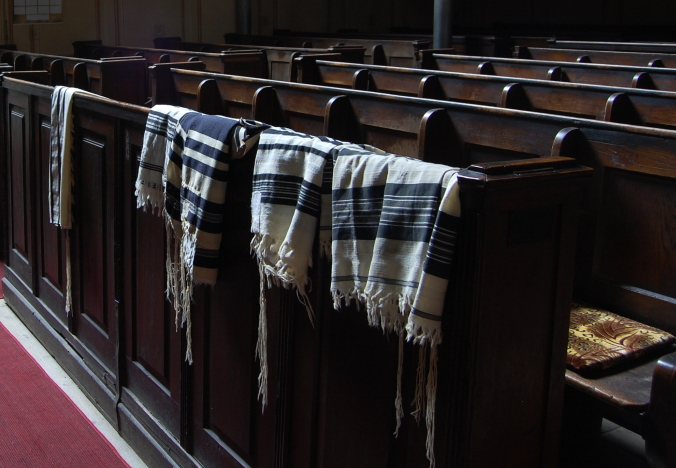 Prayer shawls in Arad Synagogue, Romania
