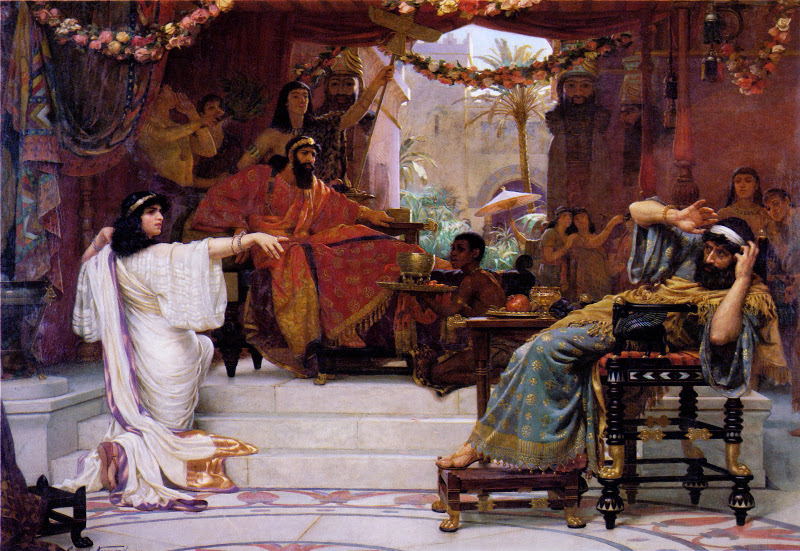Esther denouncing Haman to King Ahaseurus. Oil on canvas by Ernest Normand, 1888,Sunderland Museums and Winter Garden Collection, Tyne and Wear, England.