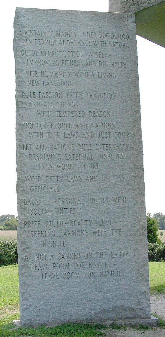 The English tablet of the Georgia Guidestones