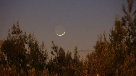 the new moon over Jerusalem. Photo taken by Yehoshua Newman.