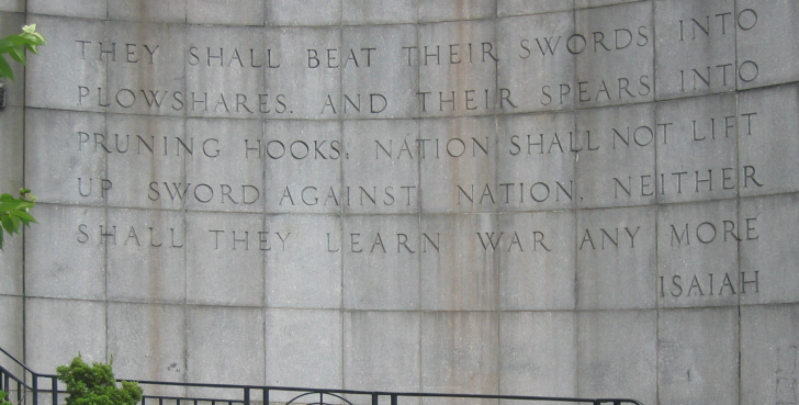 Wall outside UN in New York - partially quoting scripture. Picture used with permission - not wildolive original.