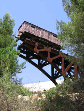 The Demorial to the Deportees  -  The German railway wagon at the end of a cut off bridge