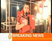 Al-Jazeera reporter Andre Abu Khalil on board the Mavi Marmara