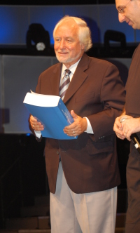 Jaques Gautier pictured with his document covering all the legal arguments about Israel under International Law.