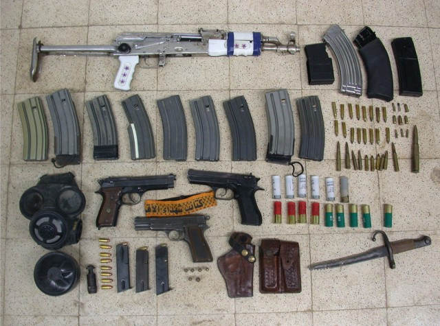 Weapons found in a Palestinian home by the IDF